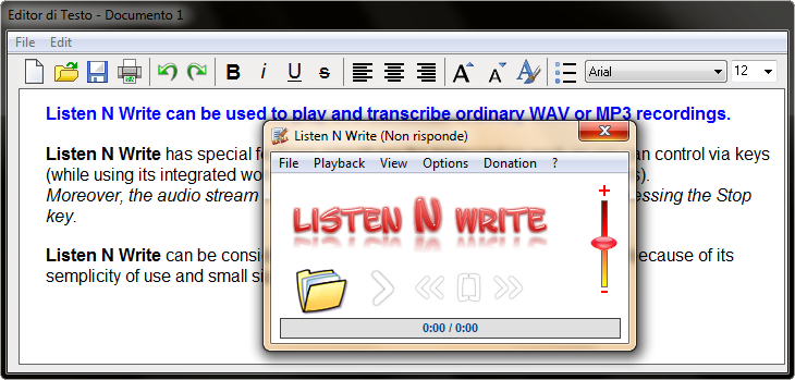 Listen N Write can be used to play and transcribe audio and video recordings well known Screen Shot